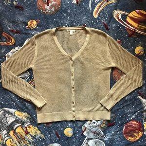 CATO Gold Glitter Open Knit Cardigan